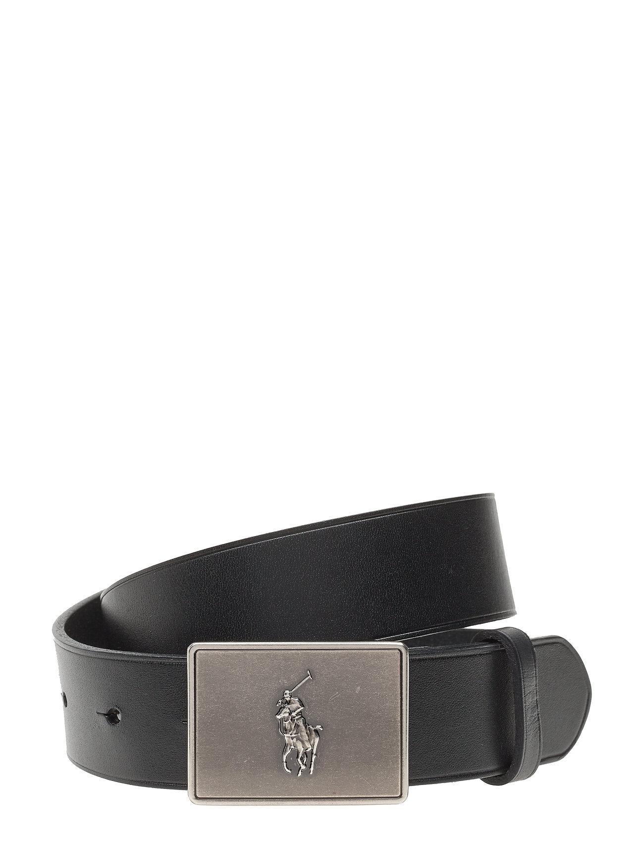 Ralph Lauren Kids PRL Leather-Trim Cotton Belt - BLACK