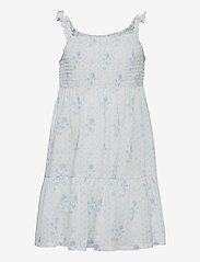 Ralph Lauren Kids - Floral Tiered Cotton Jersey Dress - kleider - blue-white - 0