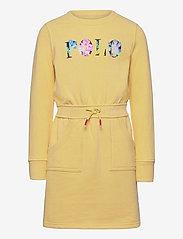 Ralph Lauren Kids - Floral Logo Fleece Dress - dresses - banana peel - 0