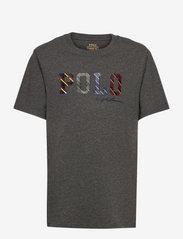 Ralph Lauren Kids - Striped-Logo Cotton Jersey Tee - pattern short-sleeved t-shirt - medium flannel he - 0