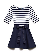 Two-Tone Ponte Dress - FRENCH NAVY/WHITE