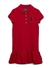 Stretch Cotton Mesh Polo Dress - RL2000 RED