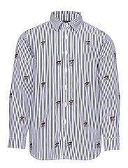 Sweater Bear Cotton Shirt - NAVY WHITE