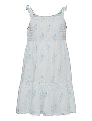 Floral Tiered Cotton Jersey Dress - BLUE-WHITE