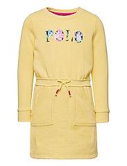 Floral-Logo Fleece Dress - BANANA PEEL