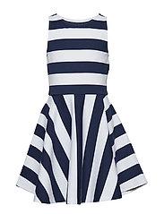 Striped Ponte Sleeveless Dress - NEWPORT NAVY/WHIT