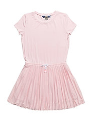 Pleated Jersey T-Shirt Dress - HINT OF PINK