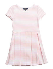 Striped Pleated Ponte Dress - HINT OF PINK/WHIT