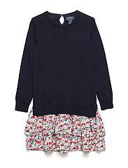 Layered Sweater Dress - HUNTER NAVY