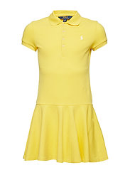 STRETCH MESH-SS POLO DRES-DR-KNT - SIGNAL YELLOW