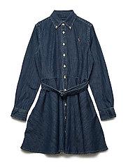 Belted Cotton Denim Shirtdress - INDIGO