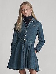 Ralph Lauren Kids - Belted Cotton Denim Shirtdress - robes - indigo - 0