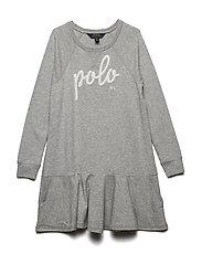 Polo French Terry Dress - LIGHT GREY HEATHE