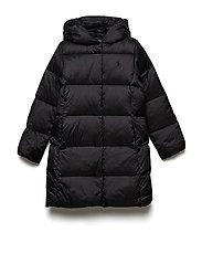 Long Hooded Down Jacket - POLO BLACK