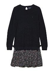Cotton-Blend Sweater Dress - HUNTER NAVY