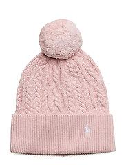 Aran-Knit Pom-Pom Hat - HINT OF PINK