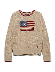 Flag Cable-Knit Sweater - OATMEAL RAGG