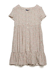 RAYON-FLORAL DRESS-DR-WVN - CREAM MULTI