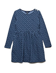 Floral French Terry Dress - BLUE/CREAM MULTI