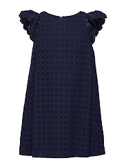 COTTON EYELET-EYELET DRESS-DR-WVN - FRENCH NAVY
