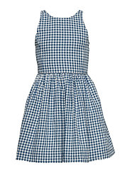 YD COTTON-GINGHAM DRES-DR-WVN - BLUE