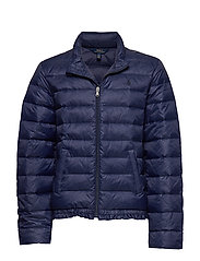Ruffled Quilted Down Jacket - FRENCH NAVY