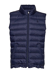 Quilted Ruffled-Hem Down Vest - FRENCH NAVY