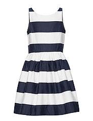 Striped Cotton Sateen Dress - HUNTER NAVY/NEVIS