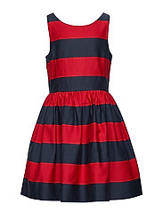 Striped Cotton Sateen Dress - RED/NAVY