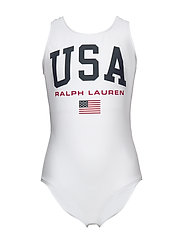 USA One-Piece Swimsuit - WHITE