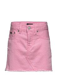 Cotton Denim Skirt - CARMEL PINK WASH