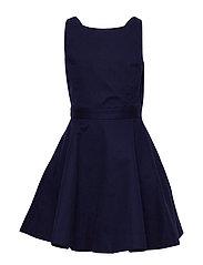 Crossback Stretch Cotton Dress - FRENCH NAVY