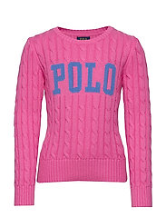 Logo Cable-Knit Cotton Sweater - BAJA PINK