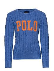 Logo Cable-Knit Cotton Sweater - HARBOR ISLAND BLU