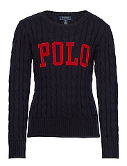 Logo Cable-Knit Cotton Sweater - RL NAVY