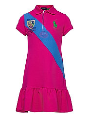 Banner-Stripe Cotton Mesh Polo Dress - ACCENT PINK