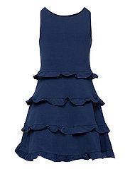 Ruffled Cotton Jersey Dress - FRENCH NAVY