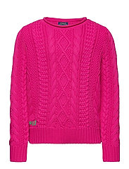 Aran-Knit Cotton Sweater - ACCENT PINK