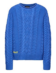 Aran-Knit Cotton Sweater - COLBY BLUE