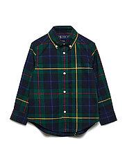 Plaid Cotton Poplin Shirt - GREEN/NAVY MULTI