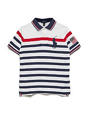 Striped Cotton Mesh Polo Shirt - WHITE MULTI