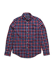 Light Weight Twill Button Down - RED MULTI