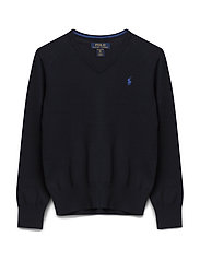 Cotton V-Neck Sweater - HUNTER NAVY