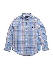 Plaid Stretch Cotton Shirt - LT BLUE MULTI