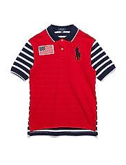 Striped Cotton Mesh Polo Shirt - RL2000 RED