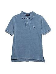 Indigo Cotton Mesh Polo Shirt - LIGHT INDIGO