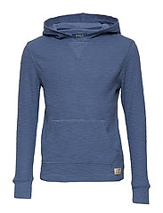 Waffle-Knit Cotton Hoodie - CARSON BLUE