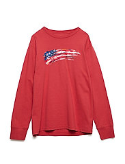 30/1 JERSEY-FLAG TEE-TP-TSH - MAINE RED