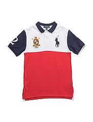 Cotton Mesh Polo Shirt - DEEP ORANGEY RED
