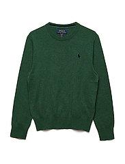 Cotton Crewneck Sweater - GREEN HEATHER